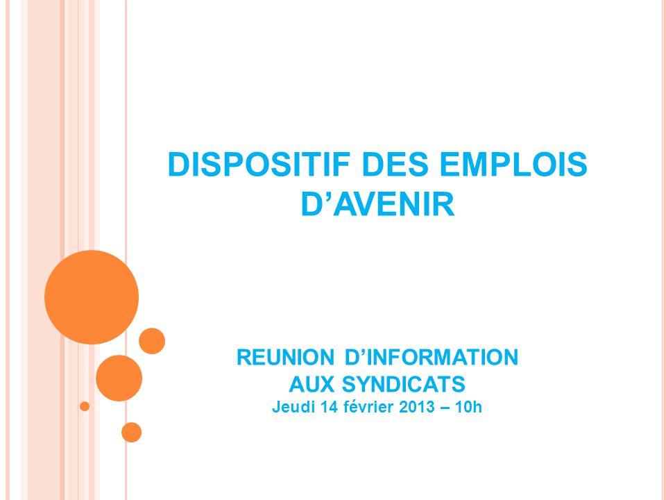 DISPOSITIF DES EMPLOIS DAVENIR REUNION DINFORMATION AUX SYNDICATS Jeudi 14 février 2013 – 10h