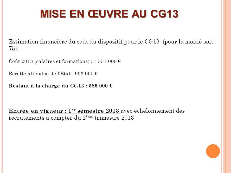 MISE EN ŒUVRE AU CG13 Estimation financière du coût du dispositif pour le CG13 (pour la moitié soit 75): Coût 2013 (salaires et formations) : 1 551 00
