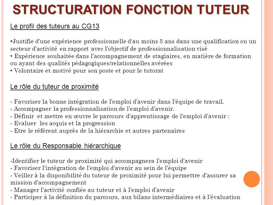 STRUCTURATION FONCTION TUTEUR Le profil des tuteurs au CG13 Justifie dune expérience professionnelle d'au moins 5 ans dans une qualification ou un sec
