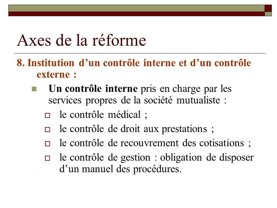 Axes de la réforme 8. Institution dun contrôle interne et dun contrôle externe : Un contrôle interne pris en charge par les services propres de la soc