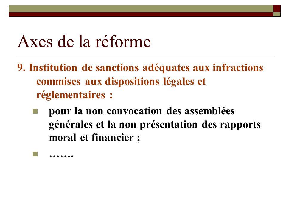 Axes de la réforme 9. Institution de sanctions adéquates aux infractions commises aux dispositions légales et réglementaires : pour la non convocation