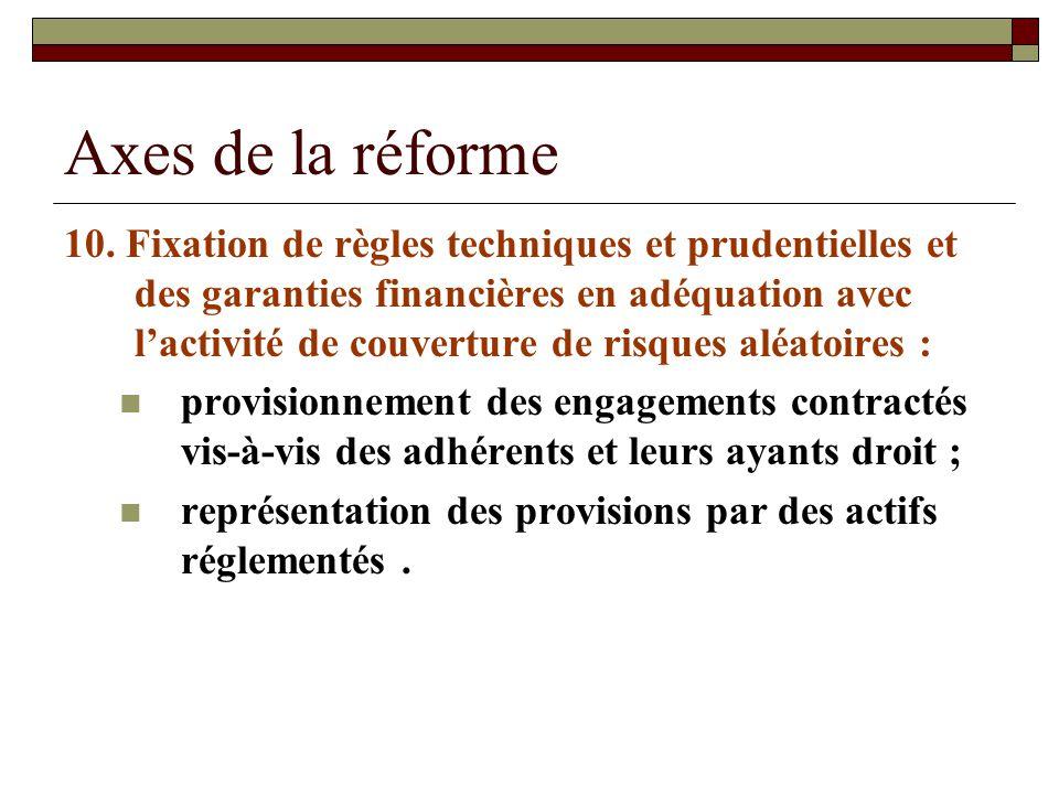 Axes de la réforme 10. Fixation de règles techniques et prudentielles et des garanties financières en adéquation avec lactivité de couverture de risqu