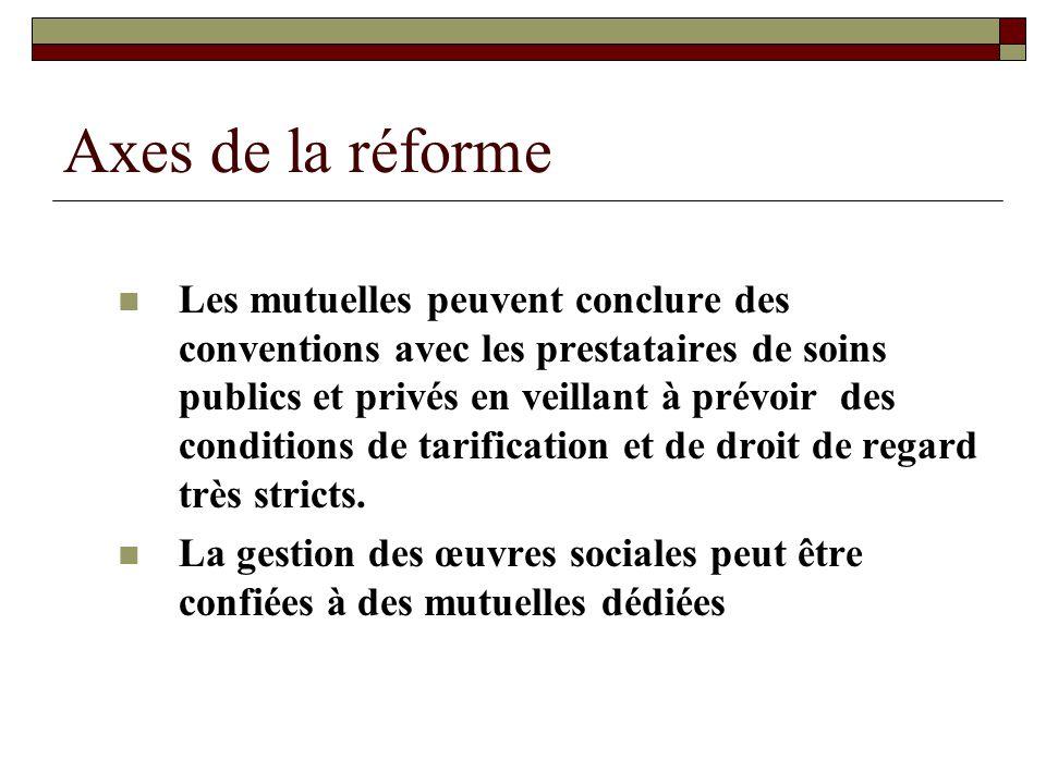 Axes de la réforme Les mutuelles peuvent conclure des conventions avec les prestataires de soins publics et privés en veillant à prévoir des condition