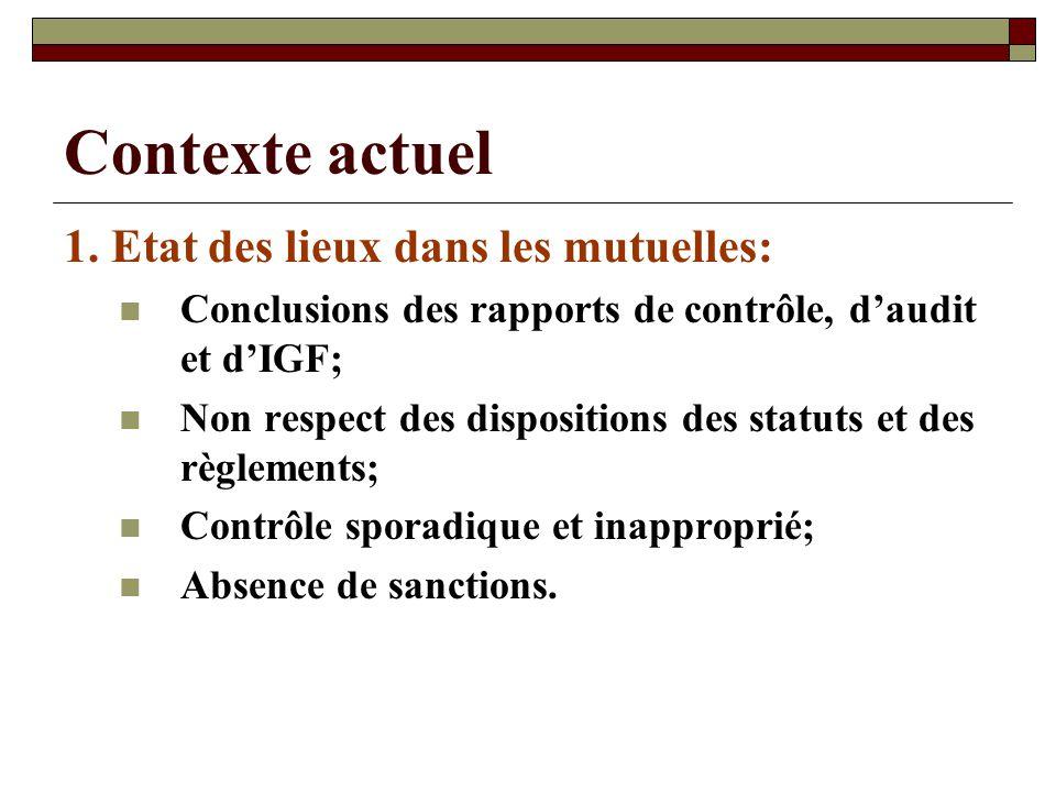 Contexte actuel 1. Etat des lieux dans les mutuelles: Conclusions des rapports de contrôle, daudit et dIGF; Non respect des dispositions des statuts e