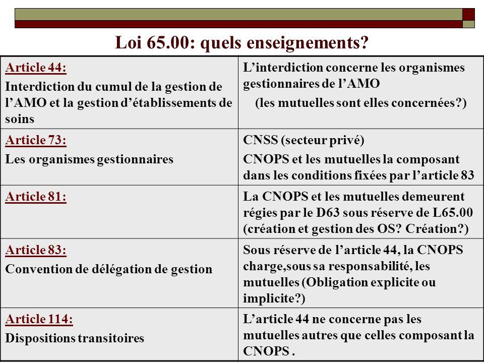 Loi 65.00: quels enseignements? Article 44: Interdiction du cumul de la gestion de lAMO et la gestion détablissements de soins Linterdiction concerne