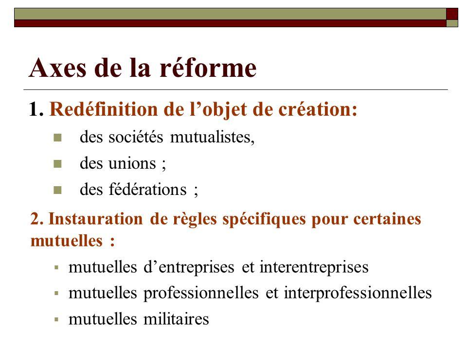 Axes de la réforme 1. Redéfinition de lobjet de création: des sociétés mutualistes, des unions ; des fédérations ; 2. Instauration de règles spécifiqu