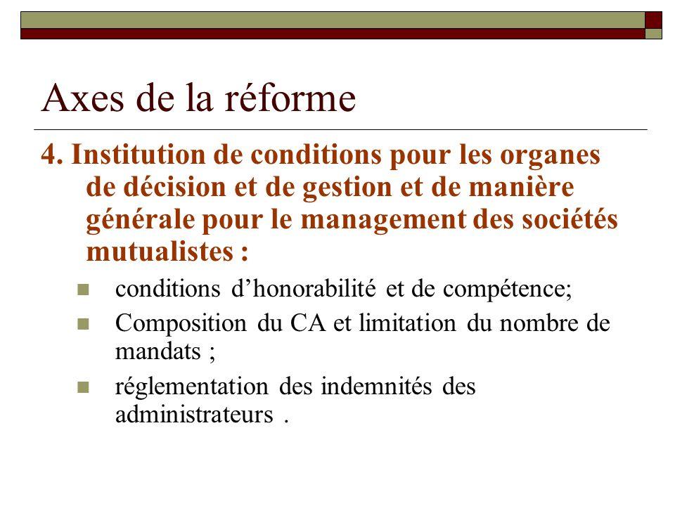 Axes de la réforme 4. Institution de conditions pour les organes de décision et de gestion et de manière générale pour le management des sociétés mutu
