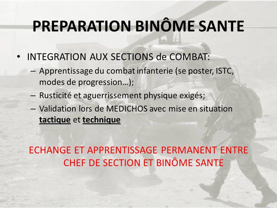 PREPARATION BINÔME SANTE INTEGRATION AUX SECTIONS de COMBAT: – Apprentissage du combat infanterie (se poster, ISTC, modes de progression…); – Rusticit