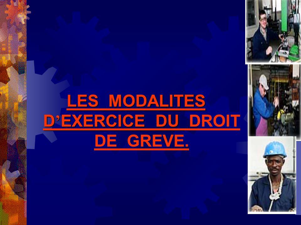 LES MODALITES D EXERCICE DU LES MODALITES D EXERCICE DU DROIT DE GREVE.