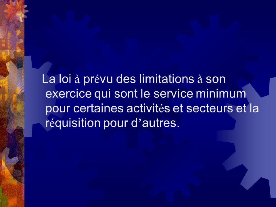 La loi à pr é vu des limitations à son exercice qui sont le service minimum pour certaines activit é s et secteurs et la r é quisition pour d autres.
