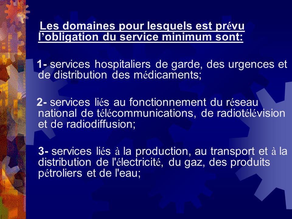 Les domaines pour lesquels est pr é vu l obligation du service minimum sont: 1- services hospitaliers de garde, des urgences et de distribution des m