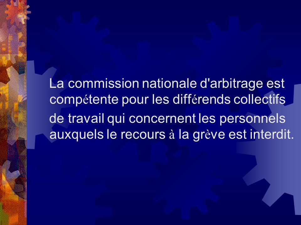 La commission nationale d'arbitrage est comp é tente pour les diff é rends collectifs de travail qui concernent les personnels auxquels le recours à l