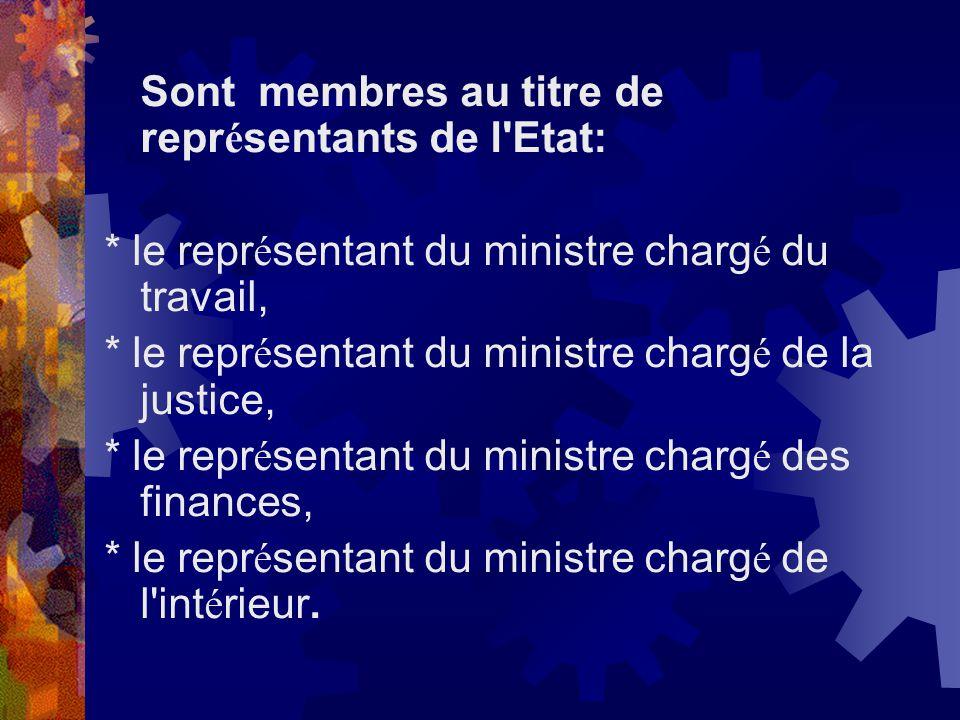 Sont membres au titre de repr é sentants de l'Etat: * le repr é sentant du ministre charg é du travail, * le repr é sentant du ministre charg é de la