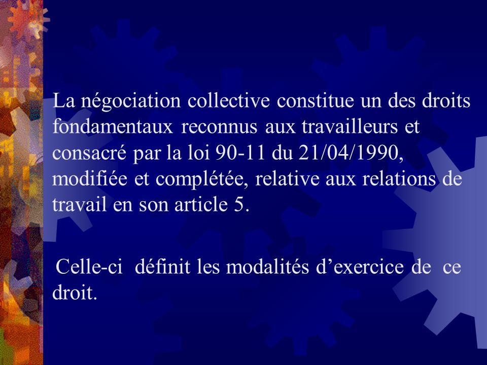 La négociation collective constitue un des droits fondamentaux reconnus aux travailleurs et consacré par la loi 90-11 du 21/04/1990, modifiée et compl