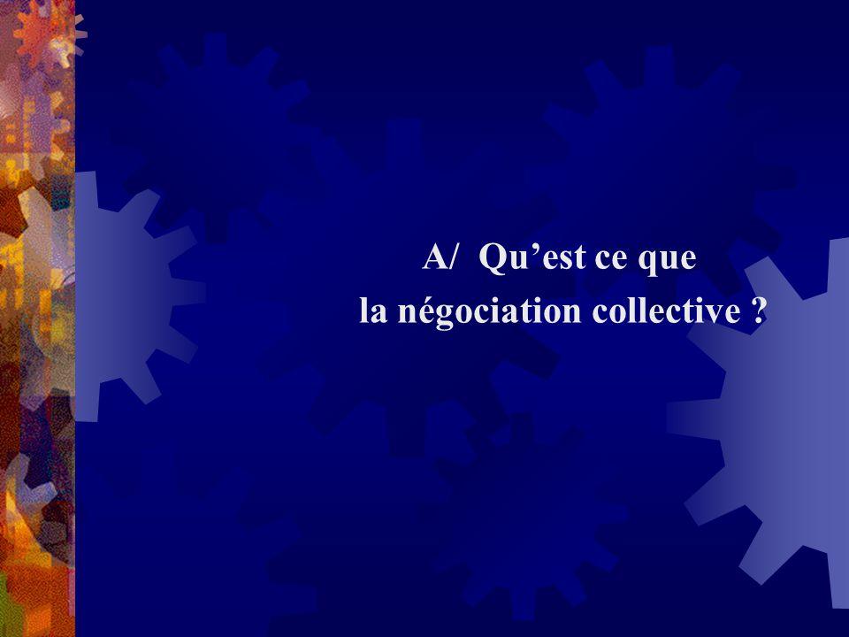 A/ Quest ce que la négociation collective ?