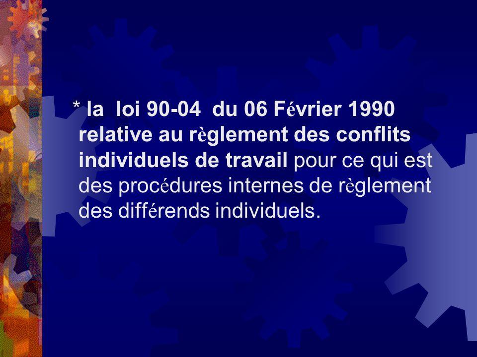 * la loi 90-04 du 06 F é vrier 1990 relative au r è glement des conflits individuels de travail pour ce qui est des proc é dures internes de r è gleme