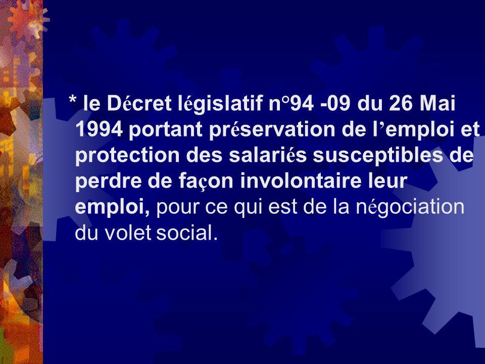 * le D é cret l é gislatif n°94 -09 du 26 Mai 1994 portant pr é servation de l emploi et protection des salari é s susceptibles de perdre de fa ç on i