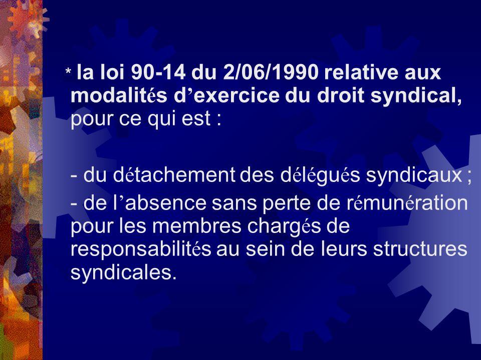 * la loi 90-14 du 2/06/1990 relative aux modalit é s d exercice du droit syndical, pour ce qui est : - du d é tachement des d é l é gu é s syndicaux ;