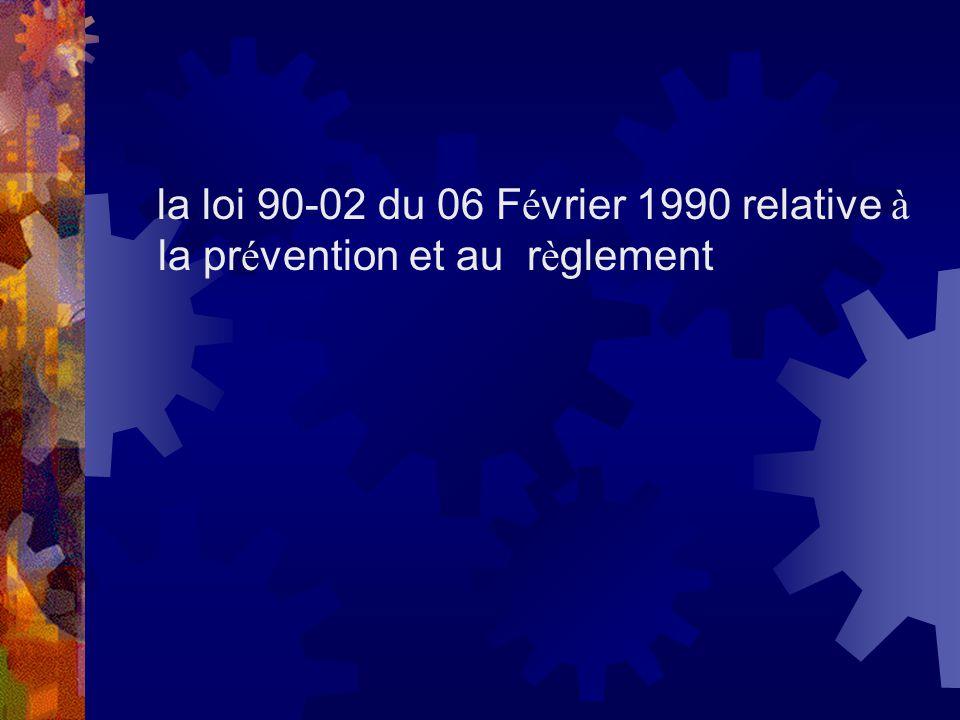 la loi 90-02 du 06 F é vrier 1990 relative à la pr é vention et au r è glement