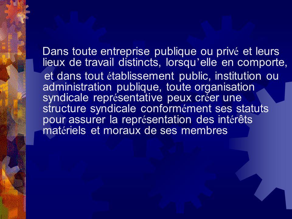 Dans toute entreprise publique ou priv é et leurs lieux de travail distincts, lorsqu elle en comporte, et dans tout é tablissement public, institution