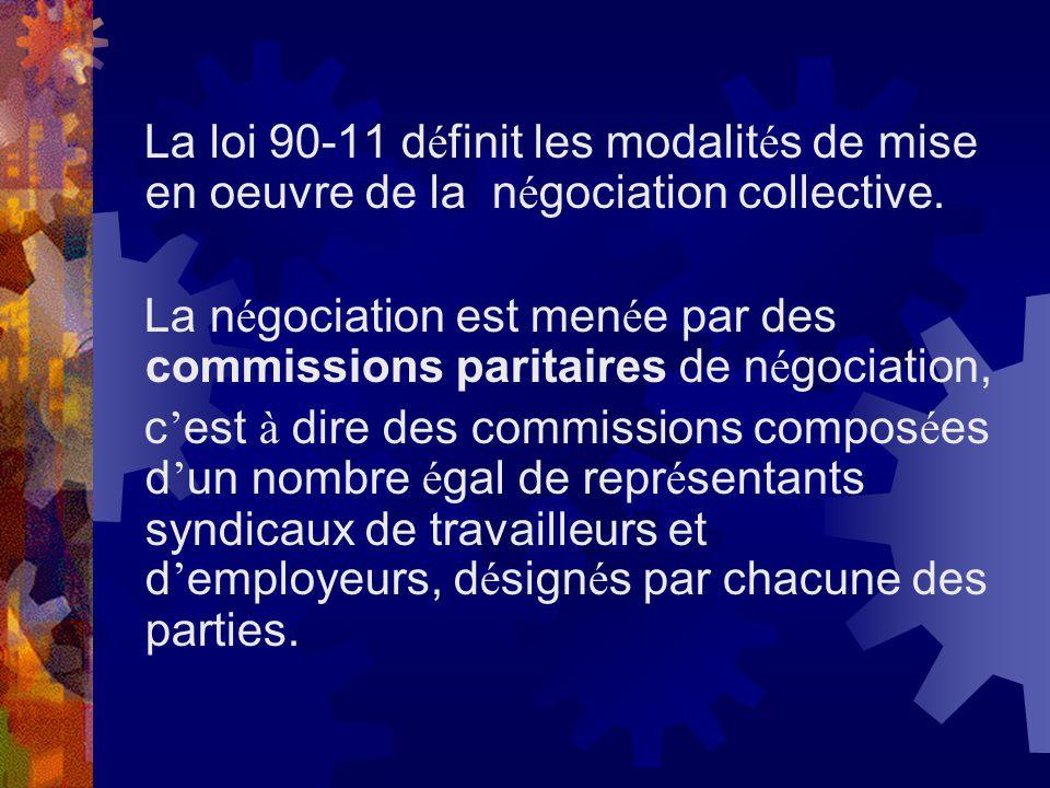 La loi 90-11 d é finit les modalit é s de mise en oeuvre de la n é gociation collective. La n é gociation est men é e par des commissions paritaires d