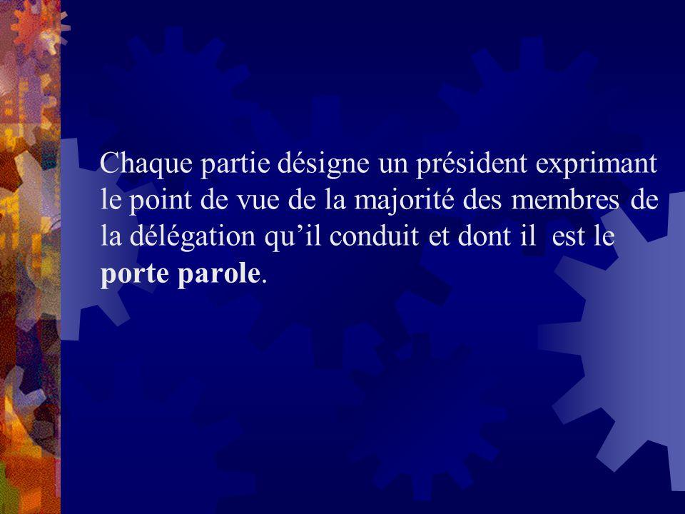 Chaque partie désigne un président exprimant le point de vue de la majorité des membres de la délégation quil conduit et dont il est le porte parole.
