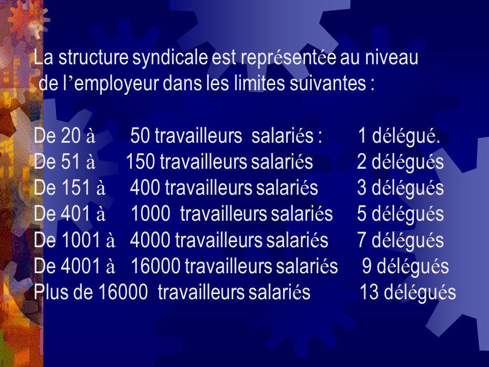 La structure syndicale est repr é sent é e au niveau de l employeur dans les limites suivantes : De 20 à 50 travailleurs salari é s : 1 d é l é gu é.