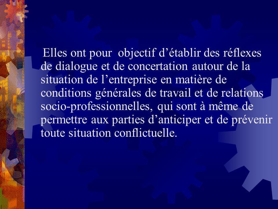 Elles ont pour objectif détablir des réflexes de dialogue et de concertation autour de la situation de lentreprise en matière de conditions générales