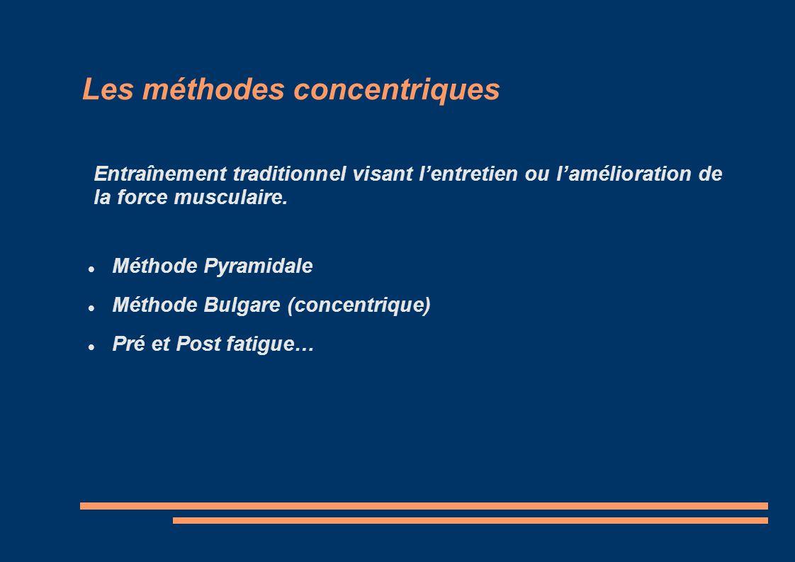 Les méthodes concentriques Méthode Pyramidale Méthode Bulgare (concentrique) Pré et Post fatigue… Entraînement traditionnel visant lentretien ou lamél