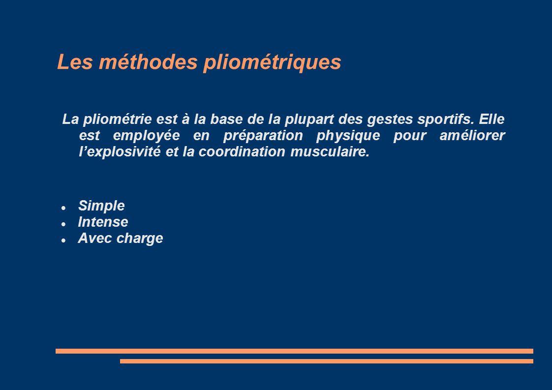 Les méthodes pliométriques La pliométrie est à la base de la plupart des gestes sportifs. Elle est employée en préparation physique pour améliorer lex