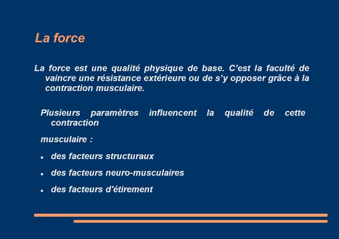 La force La force est une qualité physique de base. Cest la faculté de vaincre une résistance extérieure ou de sy opposer grâce à la contraction muscu
