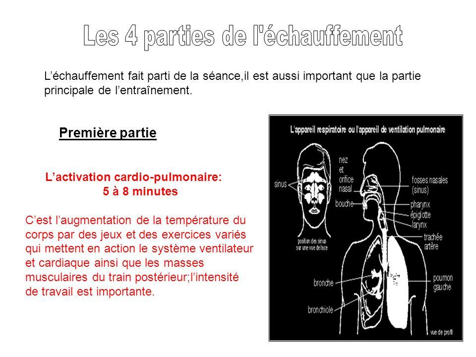 Léchauffement fait parti de la séance,il est aussi important que la partie principale de lentraînement. Lactivation cardio-pulmonaire: 5 à 8 minutes C
