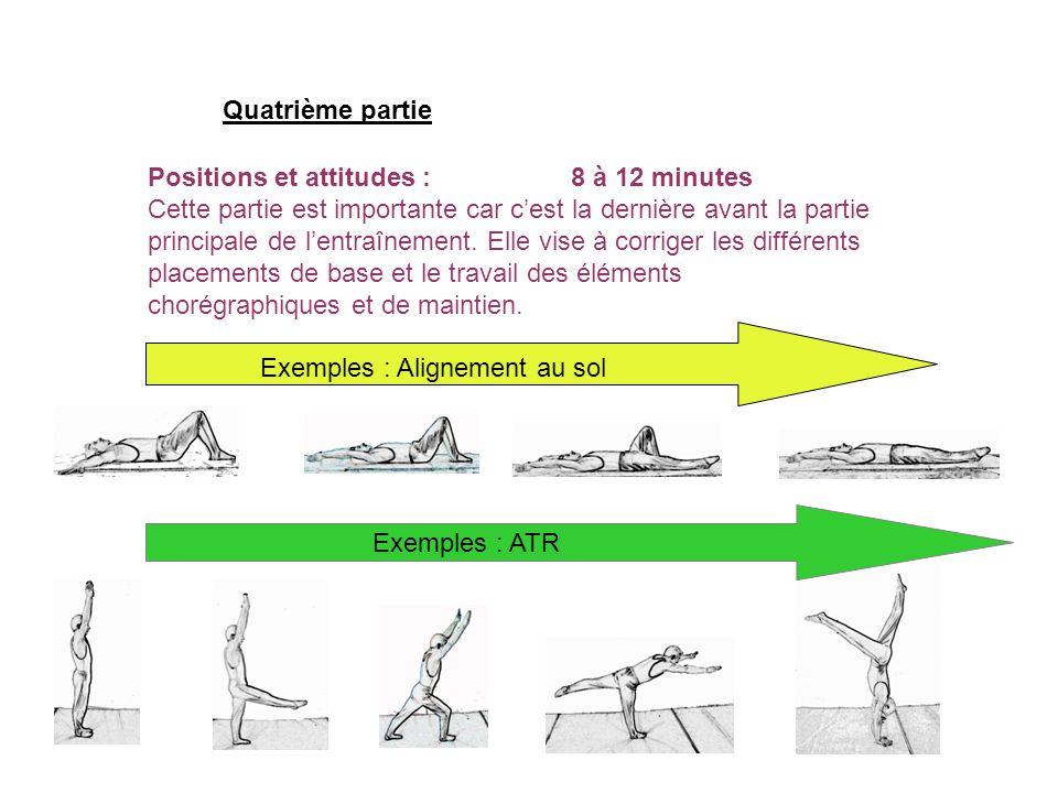 Positions et attitudes :8 à 12 minutes Cette partie est importante car cest la dernière avant la partie principale de lentraînement. Elle vise à corri