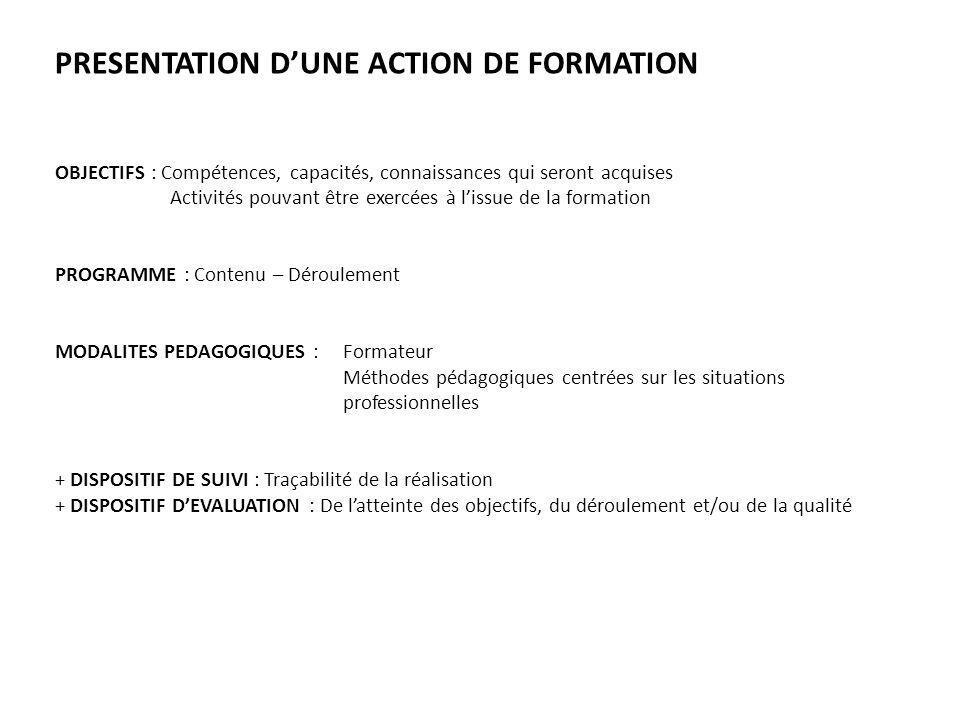 PRESENTATION DUNE ACTION DE FORMATION OBJECTIFS : Compétences, capacités, connaissances qui seront acquises Activités pouvant être exercées à lissue d