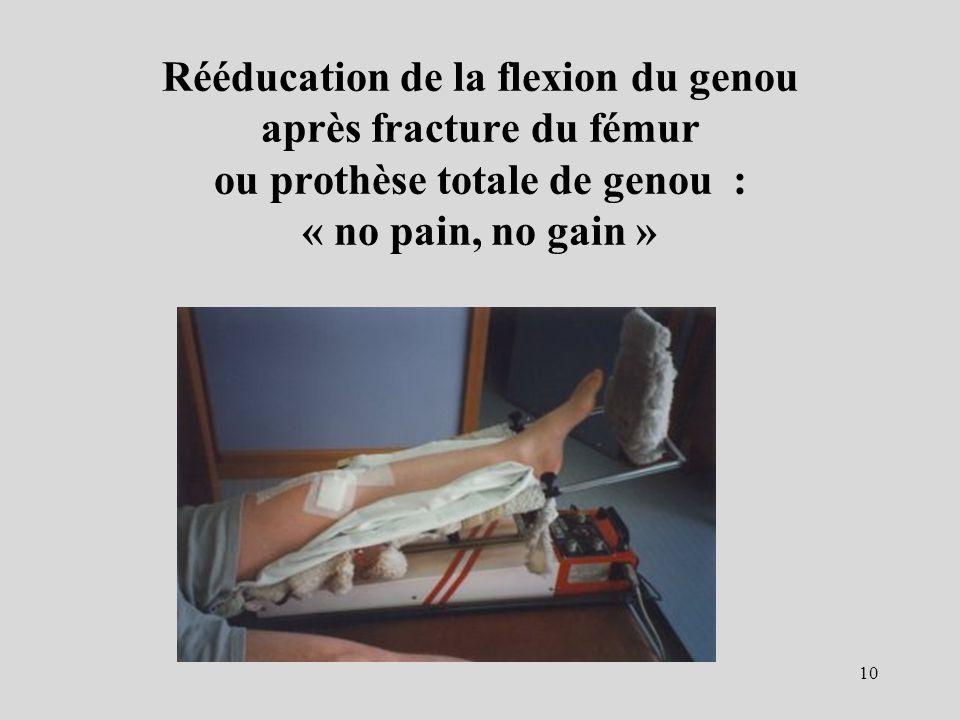 Rééducation de la flexion du genou après fracture du fémur ou prothèse totale de genou : « no pain, no gain » 10