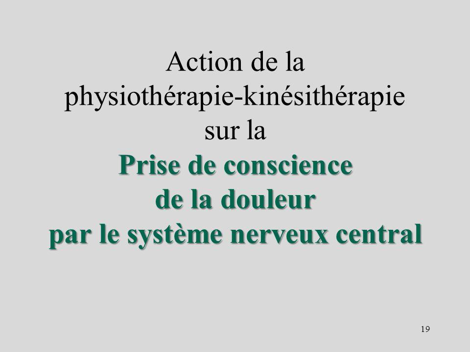 Prise de conscience de la douleur par le système nerveux central Action de la physiothérapie-kinésithérapie sur la Prise de conscience de la douleur p