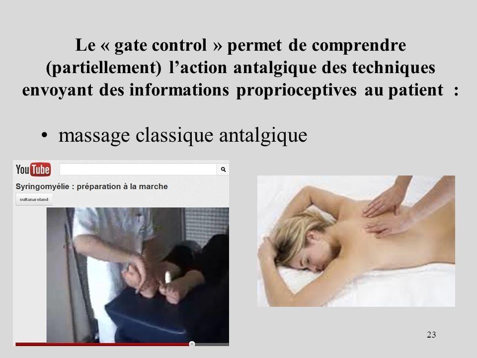 Le « gate control » permet de comprendre (partiellement) laction antalgique des techniques envoyant des informations proprioceptives au patient : mass