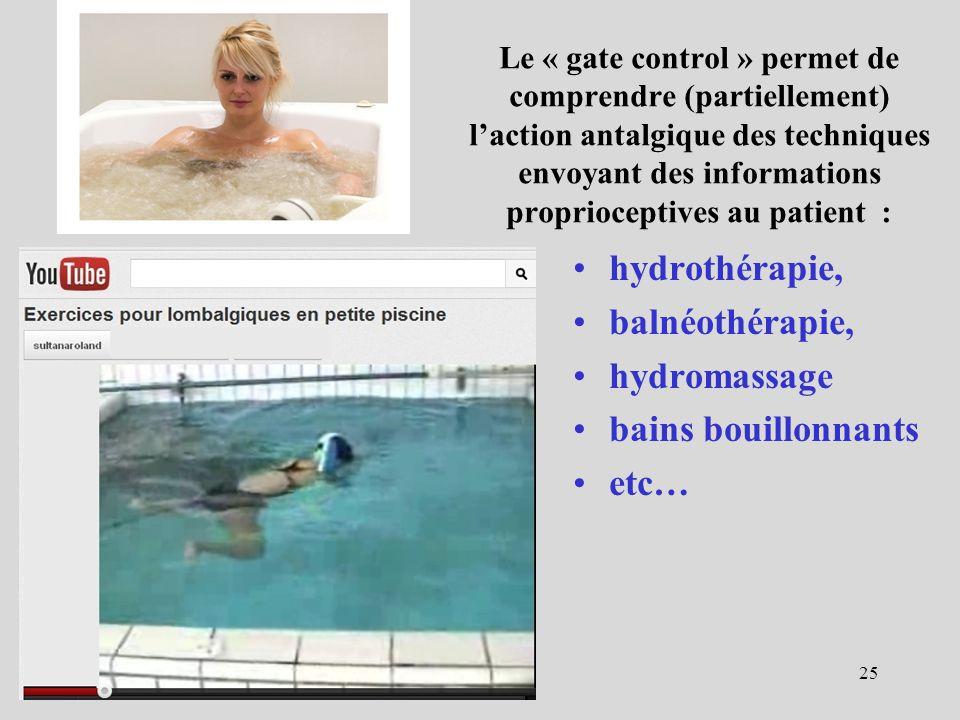 Le « gate control » permet de comprendre (partiellement) laction antalgique des techniques envoyant des informations proprioceptives au patient : hydr