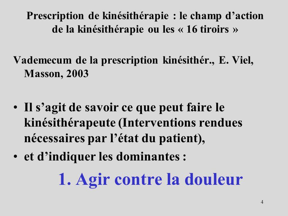 4 Prescription de kinésithérapie : le champ daction de la kinésithérapie ou les « 16 tiroirs » Vademecum de la prescription kinésithér., E. Viel, Mass