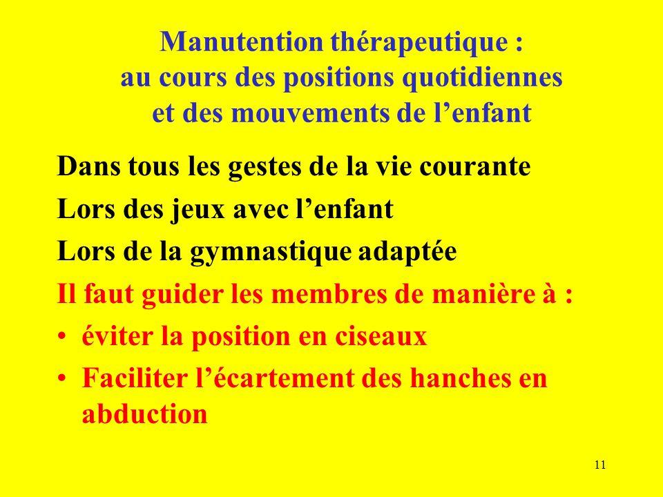 Dans tous les gestes de la vie courante Lors des jeux avec lenfant Lors de la gymnastique adaptée Il faut guider les membres de manière à : éviter la