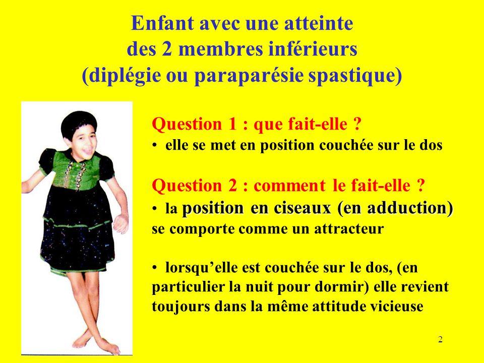 Enfant avec une atteinte des 2 membres inférieurs (diplégie ou paraparésie spastique) Question 1 : que fait-elle ? elle se met en position couchée sur