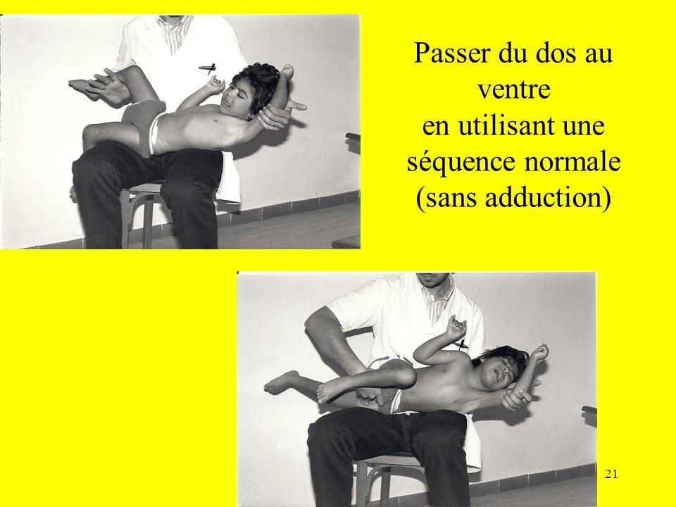 Passer du dos au ventre en utilisant une séquence normale (sans adduction) 21
