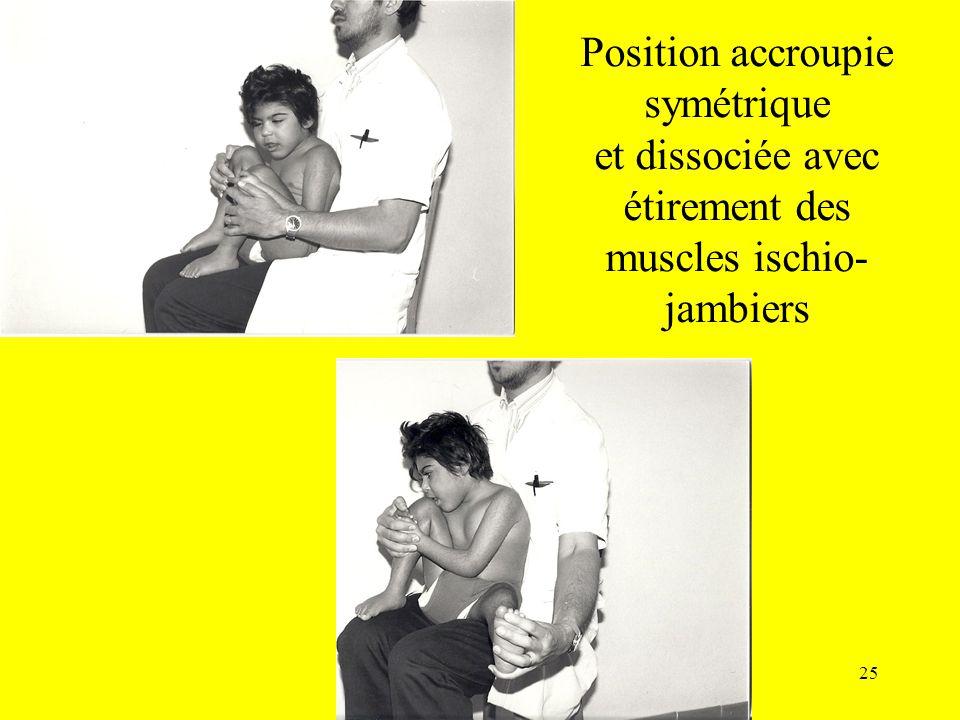 Position accroupie symétrique et dissociée avec étirement des muscles ischio- jambiers 25