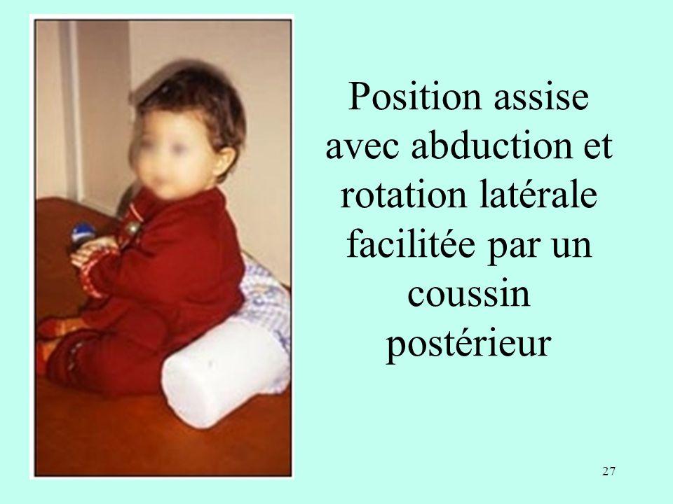 Position assise avec abduction et rotation latérale facilitée par un coussin postérieur 27