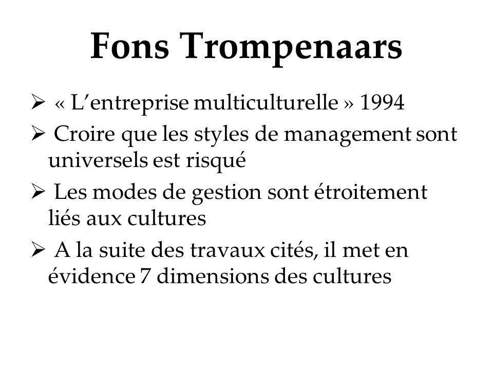 Fons Trompenaars « Lentreprise multiculturelle » 1994 Croire que les styles de management sont universels est risqué Les modes de gestion sont étroite