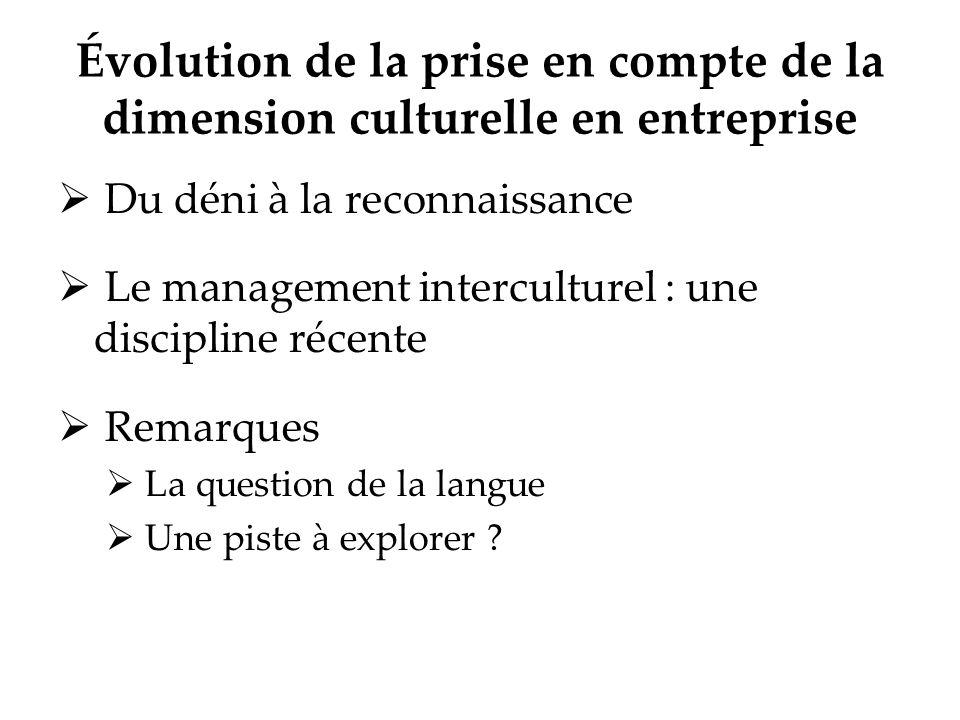 Évolution de la prise en compte de la dimension culturelle en entreprise Du déni à la reconnaissance Le management interculturel : une discipline réce