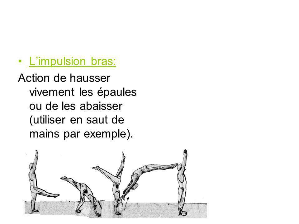 Limpulsion bras: Action de hausser vivement les épaules ou de les abaisser (utiliser en saut de mains par exemple).