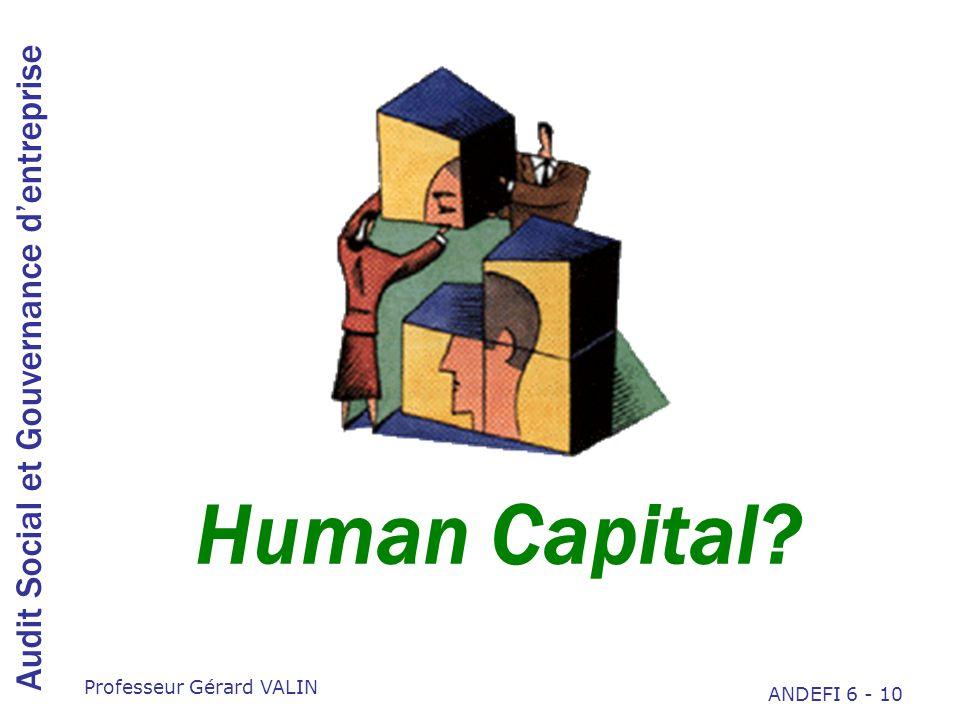 Audit Social et Gouvernance dentreprise Professeur Gérard VALIN ANDEFI 6 - 10 Human Capital?