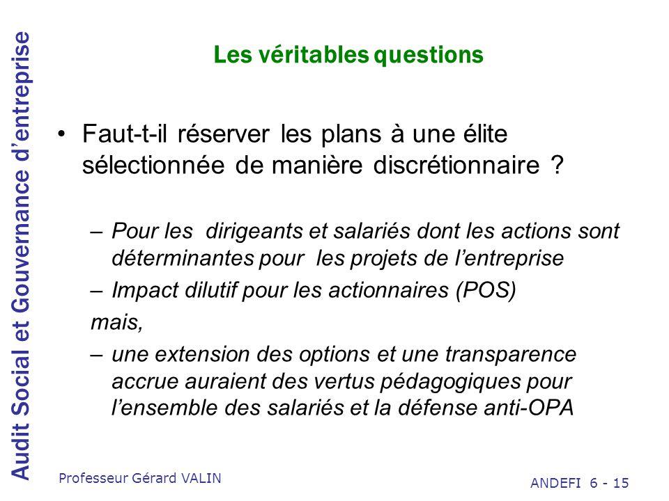 Audit Social et Gouvernance dentreprise Professeur Gérard VALIN ANDEFI 6 - 15 Les véritables questions Faut-t-il réserver les plans à une élite sélectionnée de manière discrétionnaire .