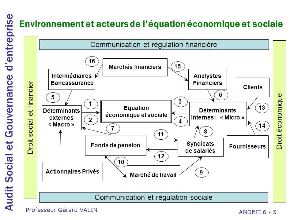 Audit Social et Gouvernance dentreprise Professeur Gérard VALIN ANDEFI 6 - 16 Les véritables questions Quel est limpact sur la performance réelle de lentreprise à moyen terme .